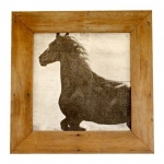 wooden picture of a horse