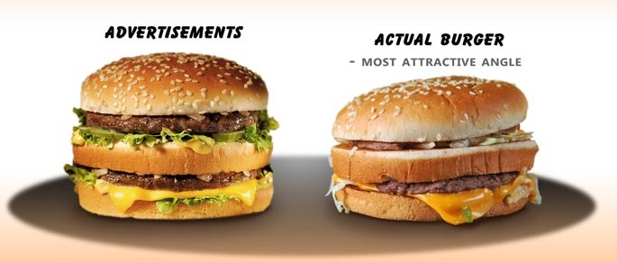 Do you think McDonald's would sell as many hamburgers if they didn't Photoshop their advertisements like this!
