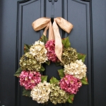 hanging flowers on a door
