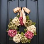 hanging flowers on a door