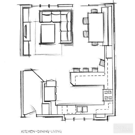 Space planning with kids in a multi functional space for Small living room floor plan