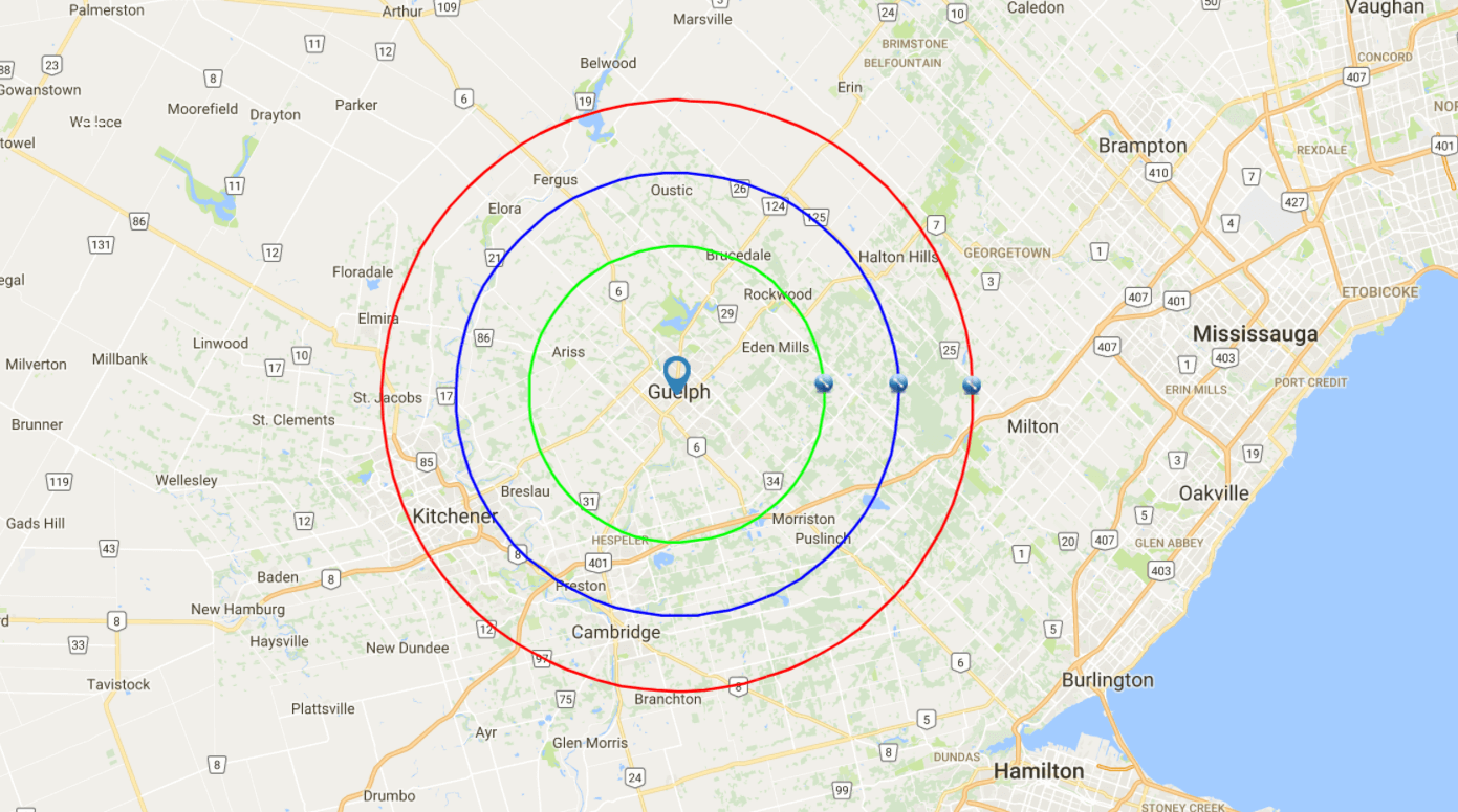 Map radius for services