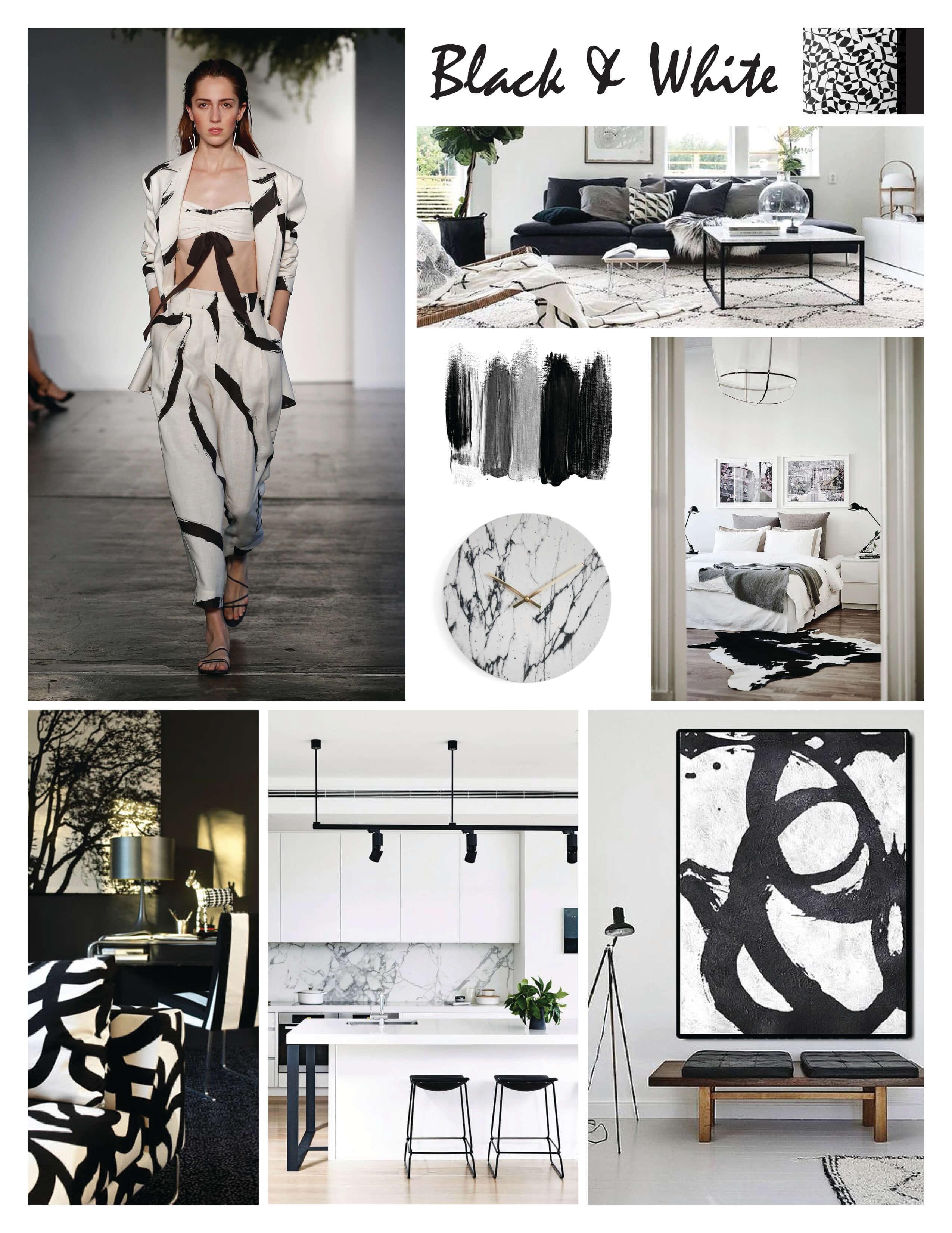 black white home design fashion