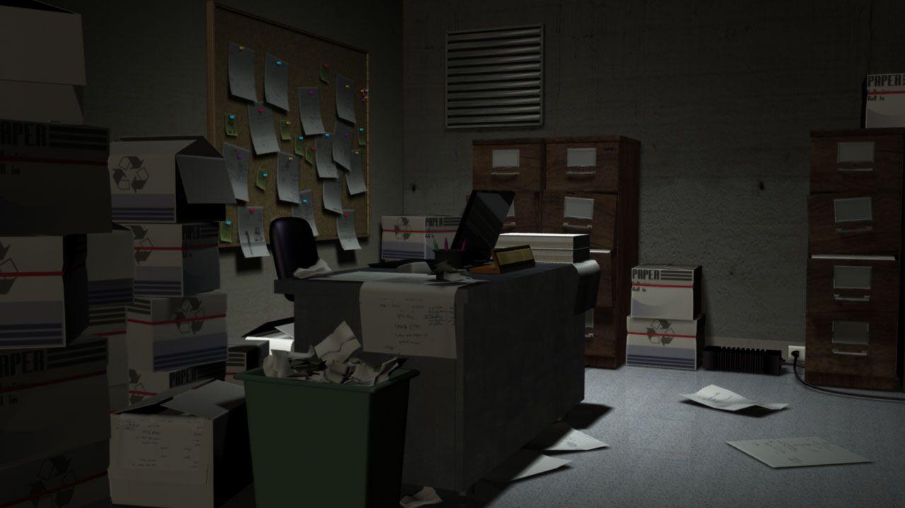 small dark office