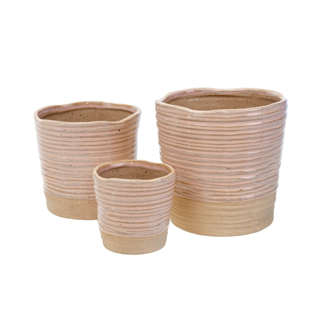 hand-made clay pots in light blush colour