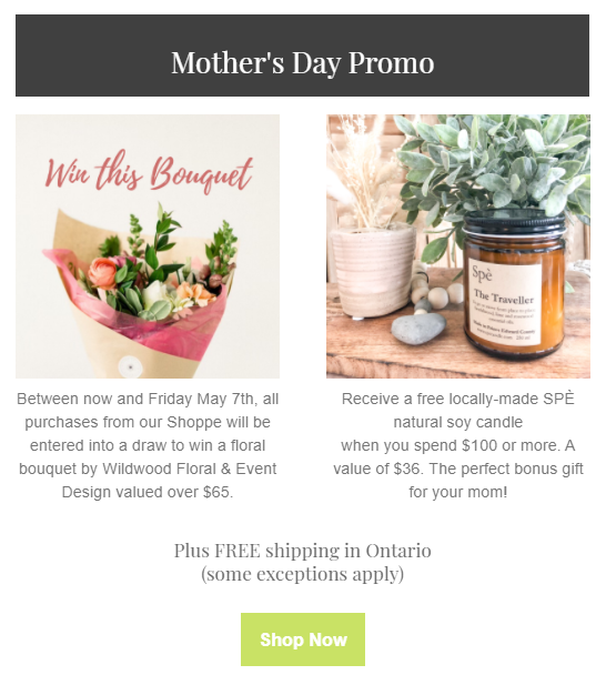 Centre Staged Mother's Day Promo win a bouquet of flowers plus a free candle with any purchase over $100