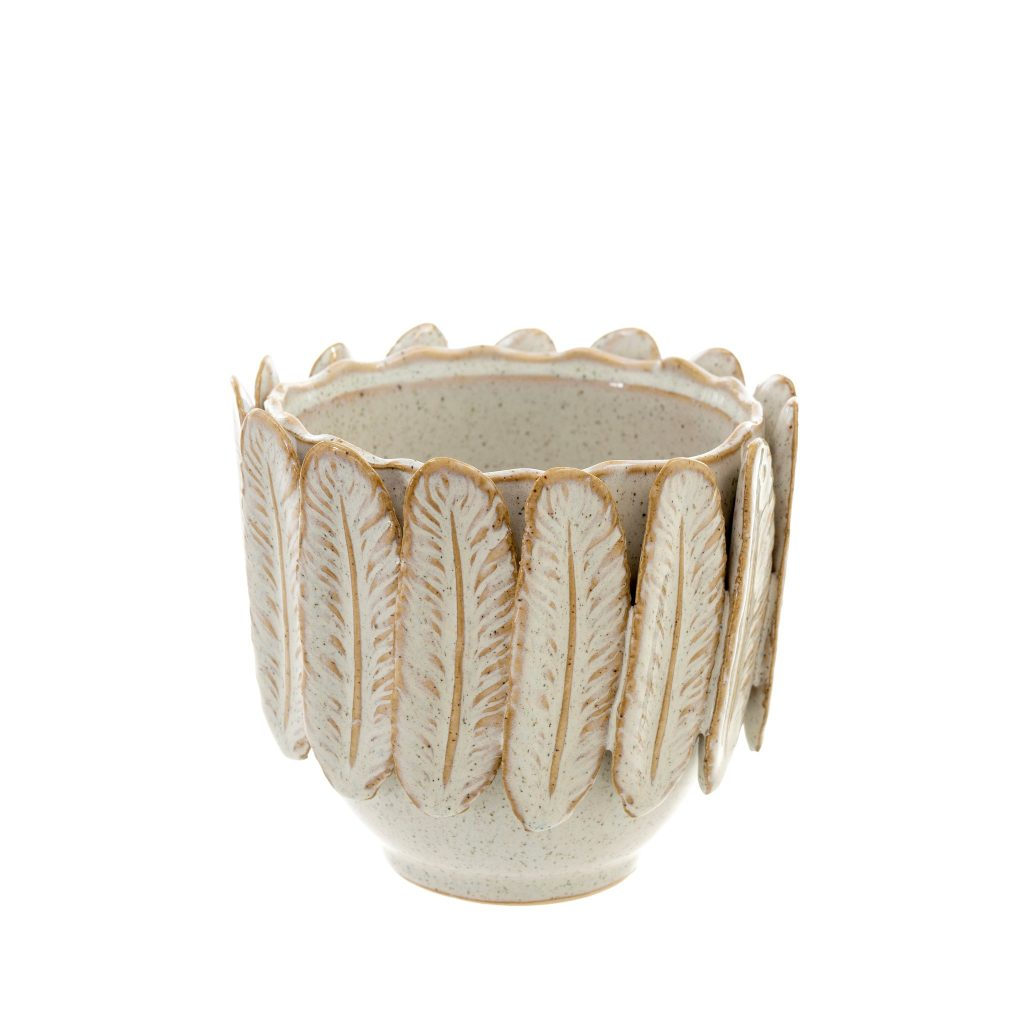 Floral or plant pot with feathers and gold trim