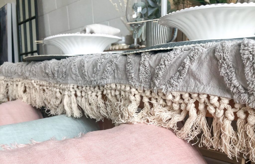 Textured Throw Blanket with tassels