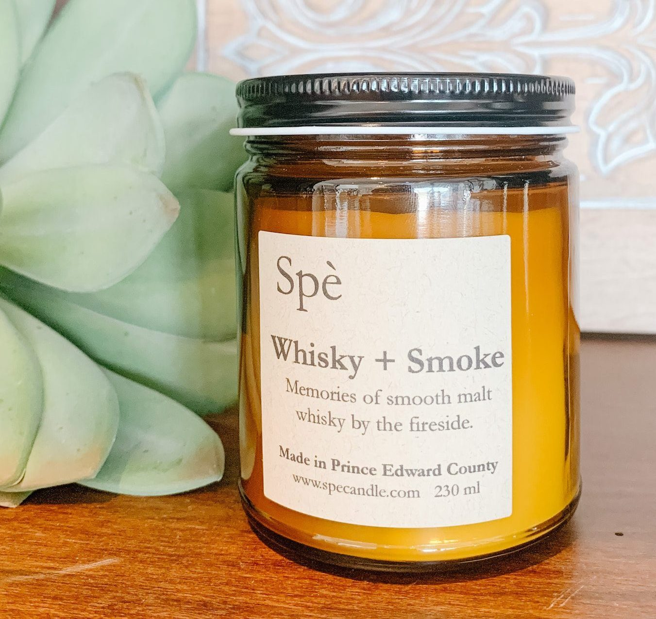 Scented candle of malt whiskey and fireside, warming scent, masculine candle, hand made, locally made candle, prince edward county